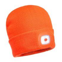 Sapka újratölthető LED lámpával narancs